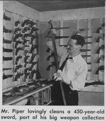 H. Beam Piper in his gunroom
